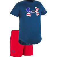 Baby Boy Under Armour USA Logo Graphic Bodysuit & Shorts Set