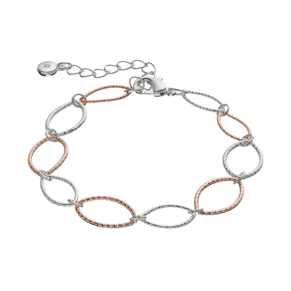 LC Lauren Conrad Two Tone Textured Marquise Link Bracelet