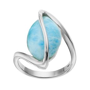Sterling Silver Larimar Marquise Twist Ring