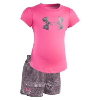 Toddler Girl Under Armour My City Grid Big Logo Tee & Shorts Set