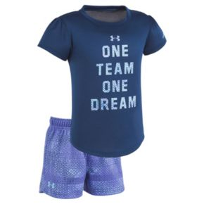 """Toddler Girl Under Armour """"One Team One Dream"""" Tee & Shorts Set"""