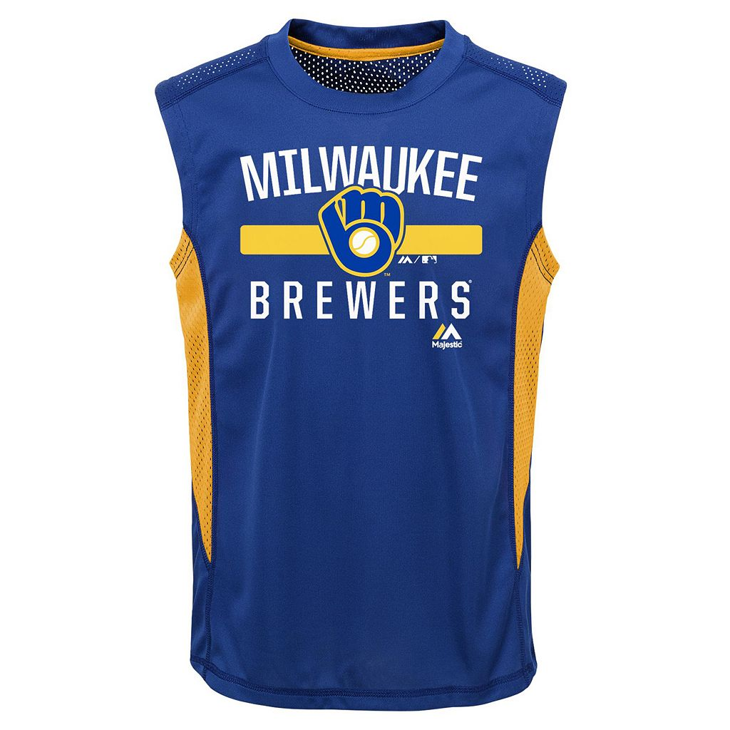 Boys 4-7 Majestic Milwaukee Brewers One Game Muscle Tee