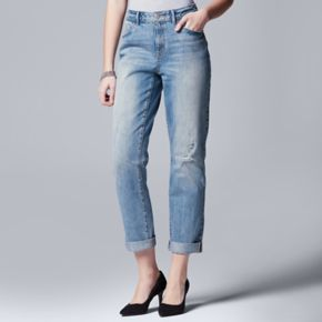 Women's Simply Vera Vera Wang Cuffed Straight-Leg Jeans