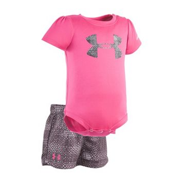 Baby Girl Under Armour Logo Graphic Bodysuit & Striped Shorts Set