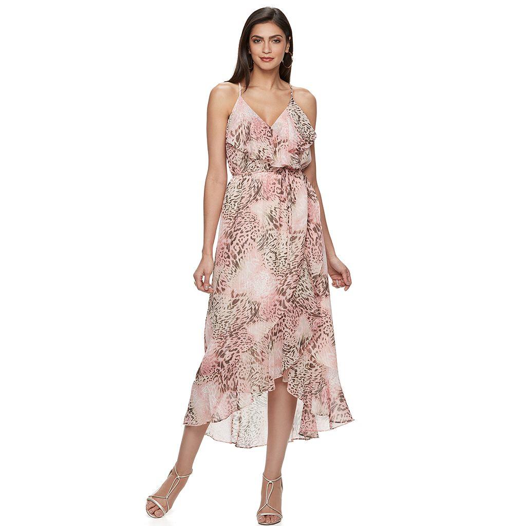 Women's Jennifer Lopez Metallic Faux-Wrap Maxi Dress