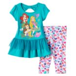 Disney Princess Rapunzel, Ariel & Belle Tiered Bow Back Tunic & Heart Print Leggings Set