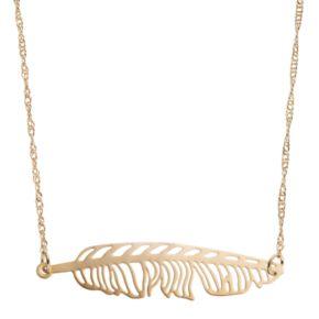 LC Lauren Conrad Openwork Sideways Leaf Necklace