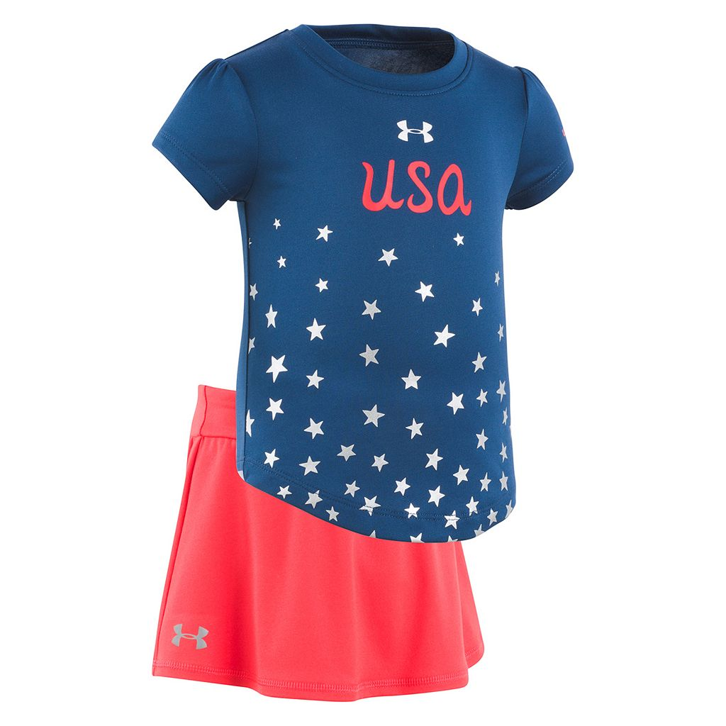 Toddler Girl Under Armour USA Rising Star Tee & Skort Set
