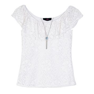 Girls 7-16 IZ Amy Byer Ruffle Lace Top with Necklace