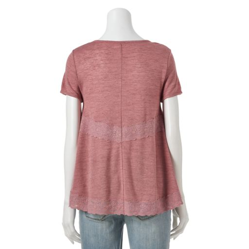 Juniors' Cloud Chaser Lace-Inset Handkerchief Top