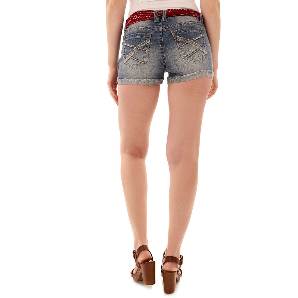 Juniors' Wallflower Legendary Ripped Jean Shortie Shorts