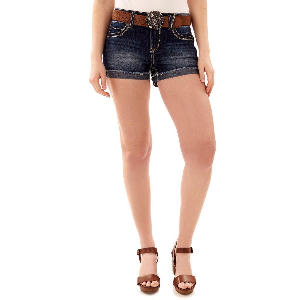 Juniors' Wallflower Luscious Curvy Round Buckle Shortie Shorts