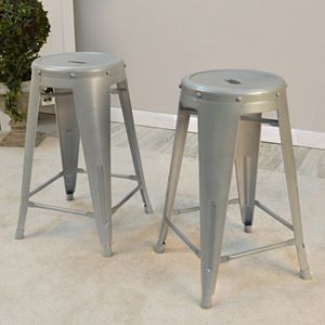 Ezra Metal Counter Stool 2-piece Set