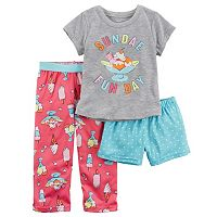 Baby Girl Carter's 3-pc. Graphic Tee, Shorts & Pants Pajama Set