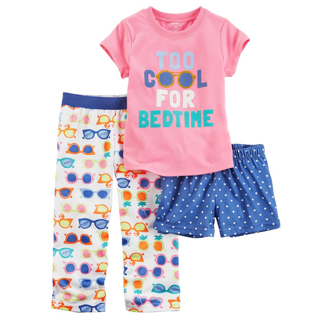Baby Girl Carter's 3-pc. Graphic Tee, Shorts & Pants Pajama Set