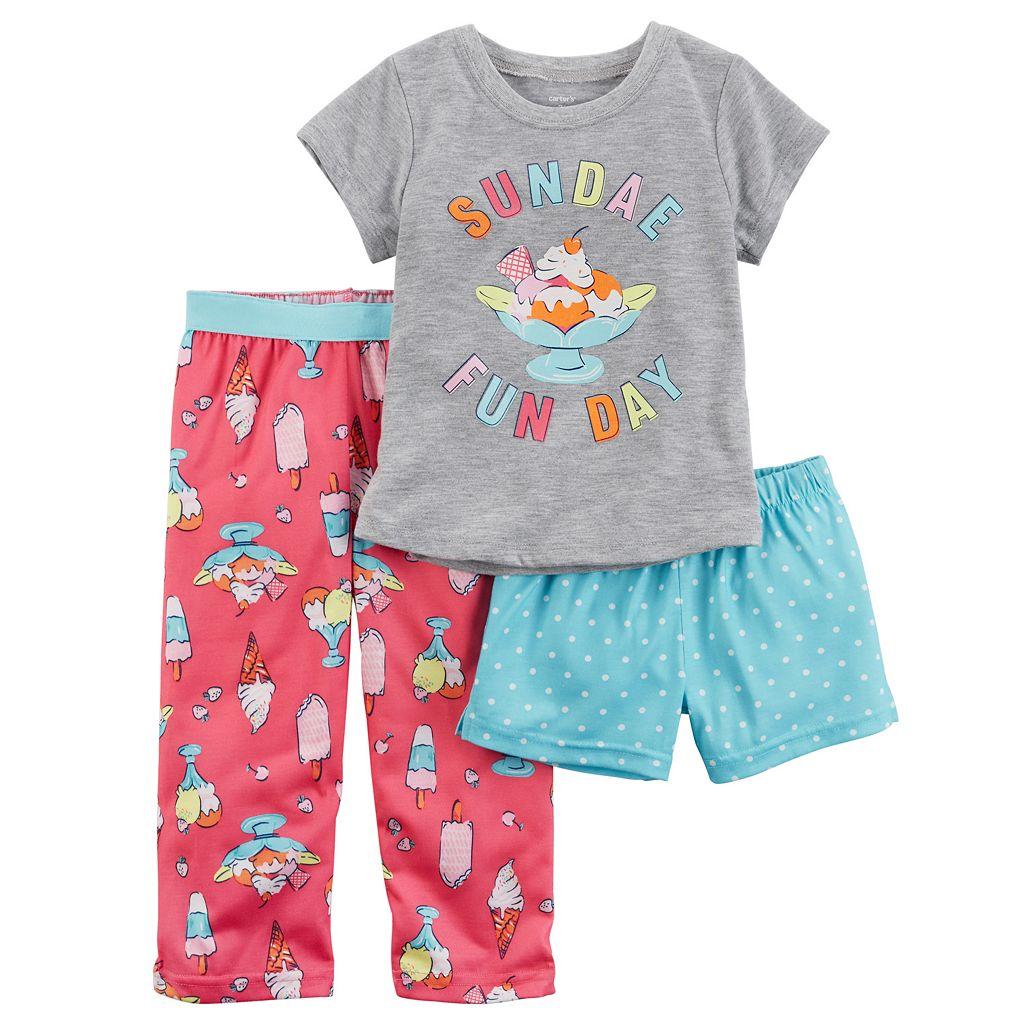 Toddler Girl Carter's 3-pc. Graphic Tee, Shorts & Pants Pajama Set