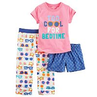 Toddler Girl Carter's 3-pc. Graphic Tee, Shorts & Pants Pajama Set