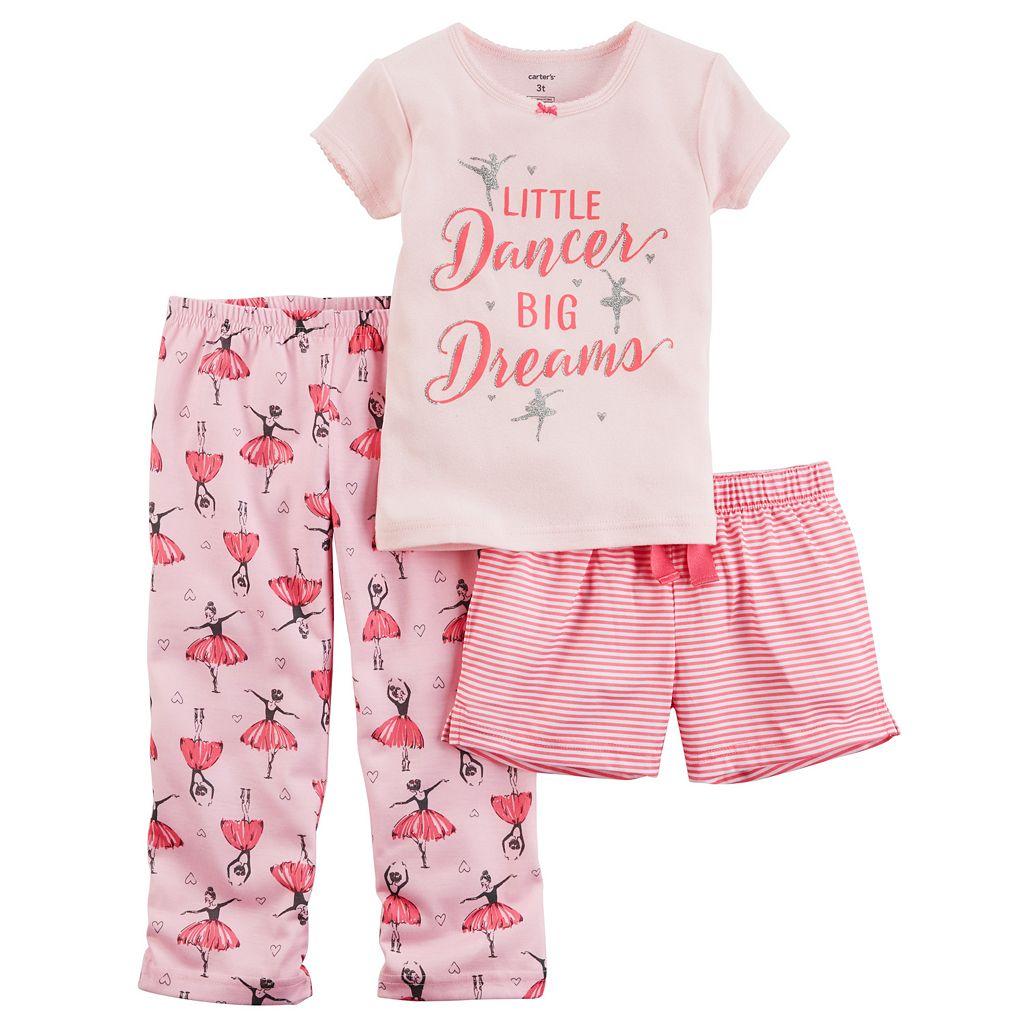 Baby Girl Carter's 3-pc. Glittery Graphic Tee, Shorts & Pants Pajama Set