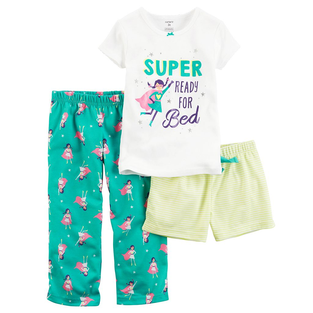 Baby Girl Carter's 3-pc. Glittery Graphic Tee, Shorts & Pants Pajama Set