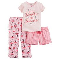 Toddler Girl Carter's 3-pc. Glittery Graphic Tee, Shorts & Pants Pajama Set