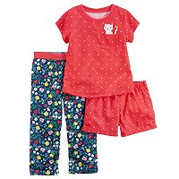 Baby Girl Carter's Graphic Tee, Print Shorts & Pants Pajama Set