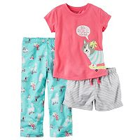 Baby Girl Carter's Graphic Tee, Striped Shorts & Print Pants Pajama Set