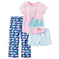 Baby Girl Carter's Graphic Tee, Striped Shorts & Print Pants Pajama Set