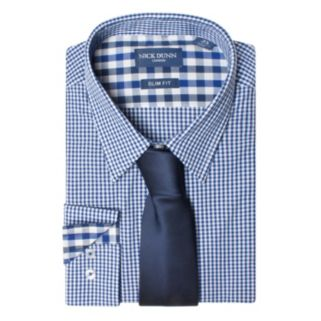 Men's Nick Dunn Slim Tall Patterned Easy-Care Spread-Collar Dress Shirt & Tie Set