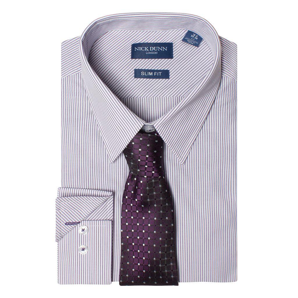 Men's Nick Dunn Slim Tall Patterned Easy-Care Spread-Collar Dress Shirt & Tie Set