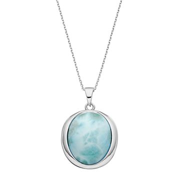 Sterling Silver Larimar Oval Pendant Necklace