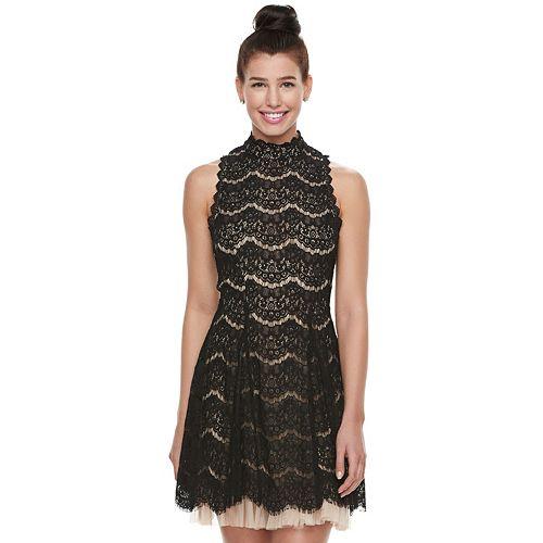 Juniors\' Trixxi Tulle Hem Lace Mockneck Dress