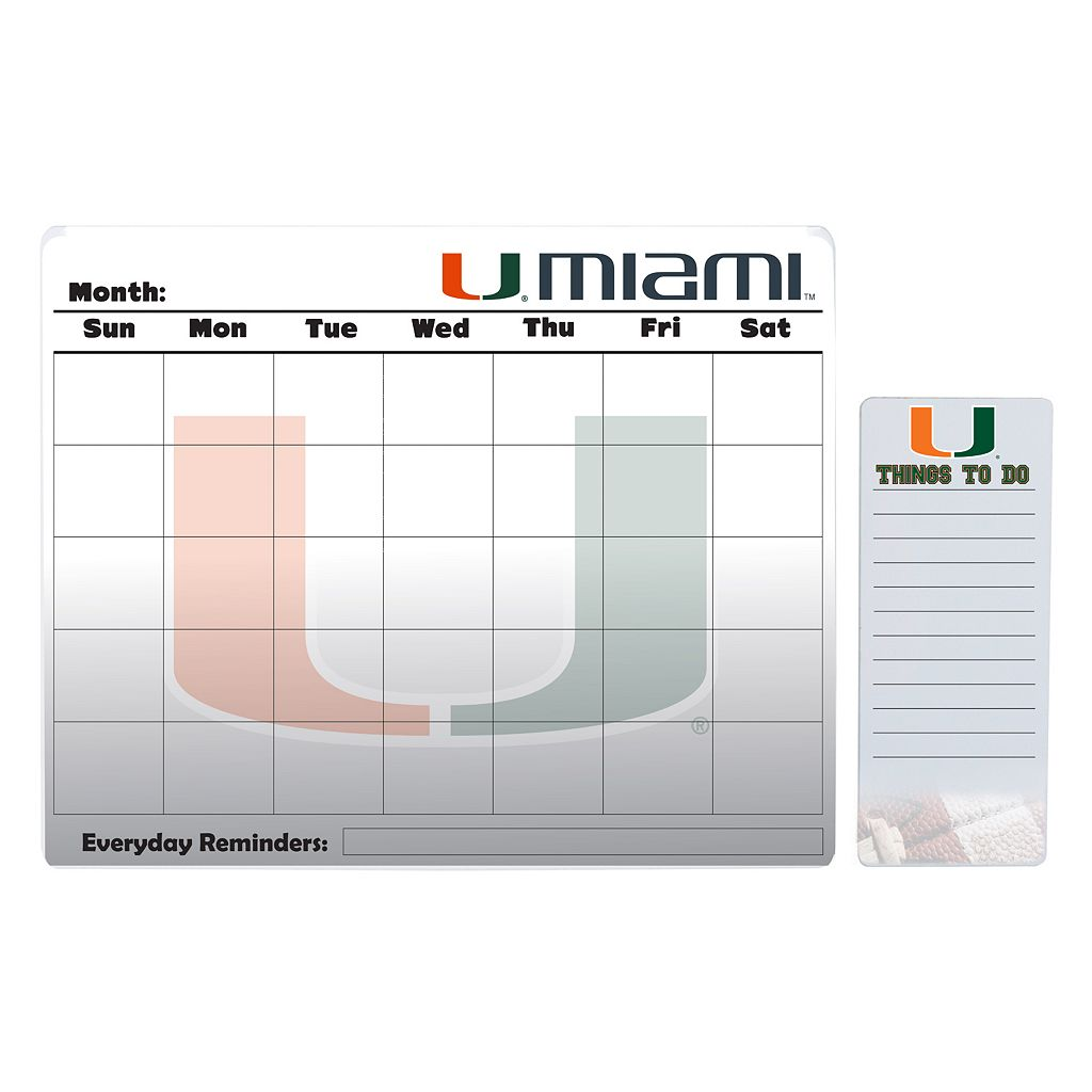 Miami Hurricanes Magnetic Dry Erase Calendar & To-Do Board Set