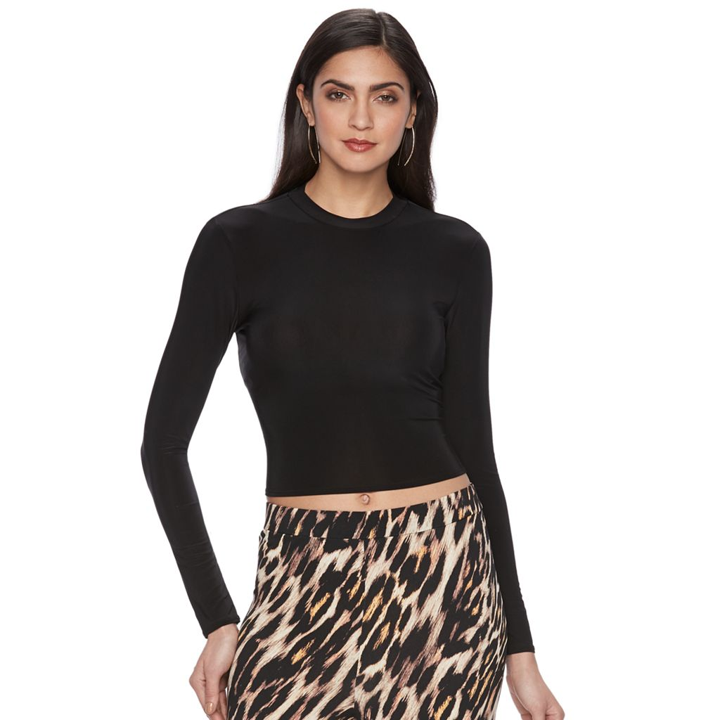 Women's Jennifer Lopez Luxe Essentials Mockneck Crop Top