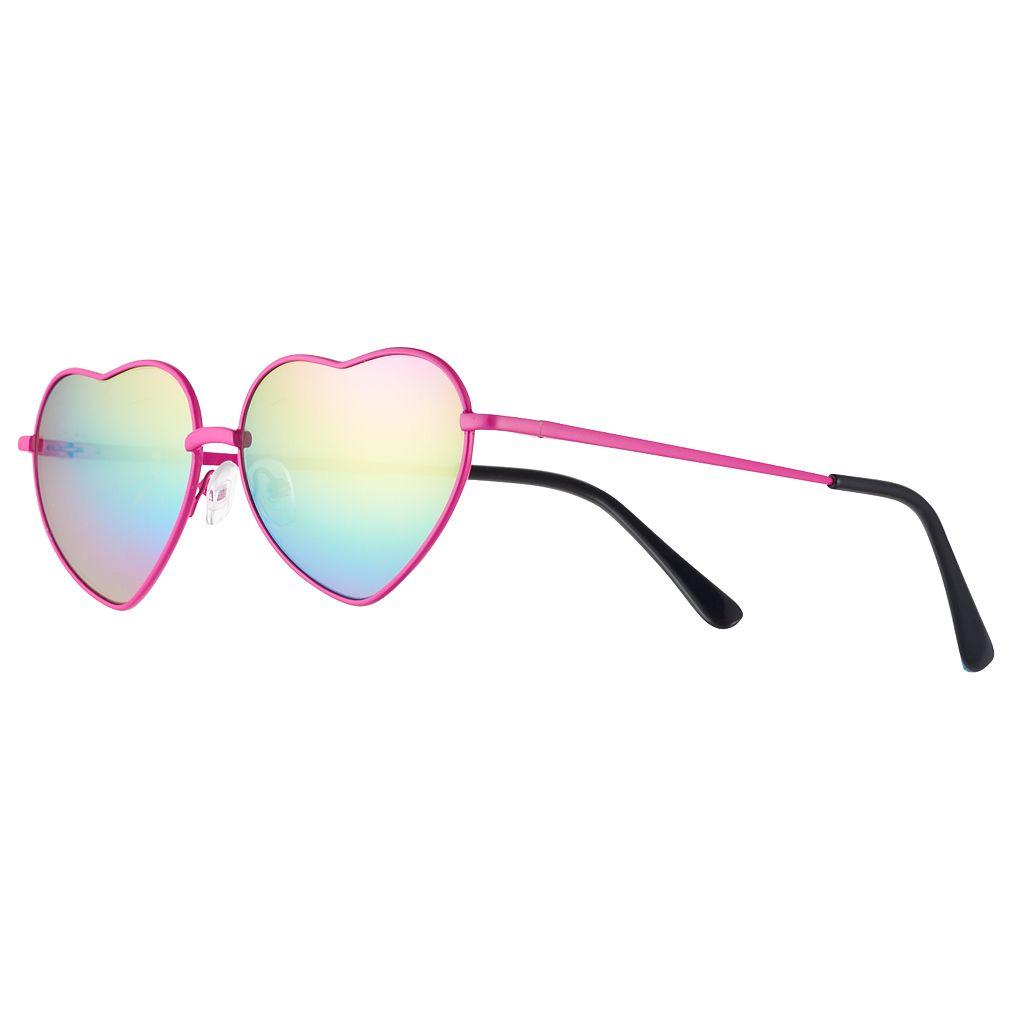 Girls 4-16 Metal Heart Aviator Sunglasses
