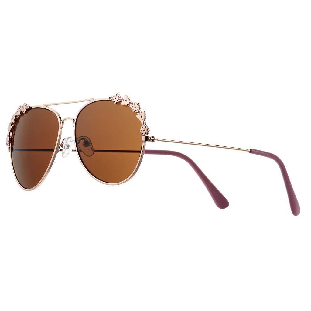 Girls 4-16 Rose Gold Metal Aviator Sunglasses