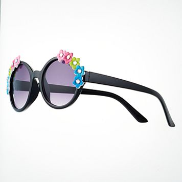 Girls 4-16 3D Flower Round Sunglasses