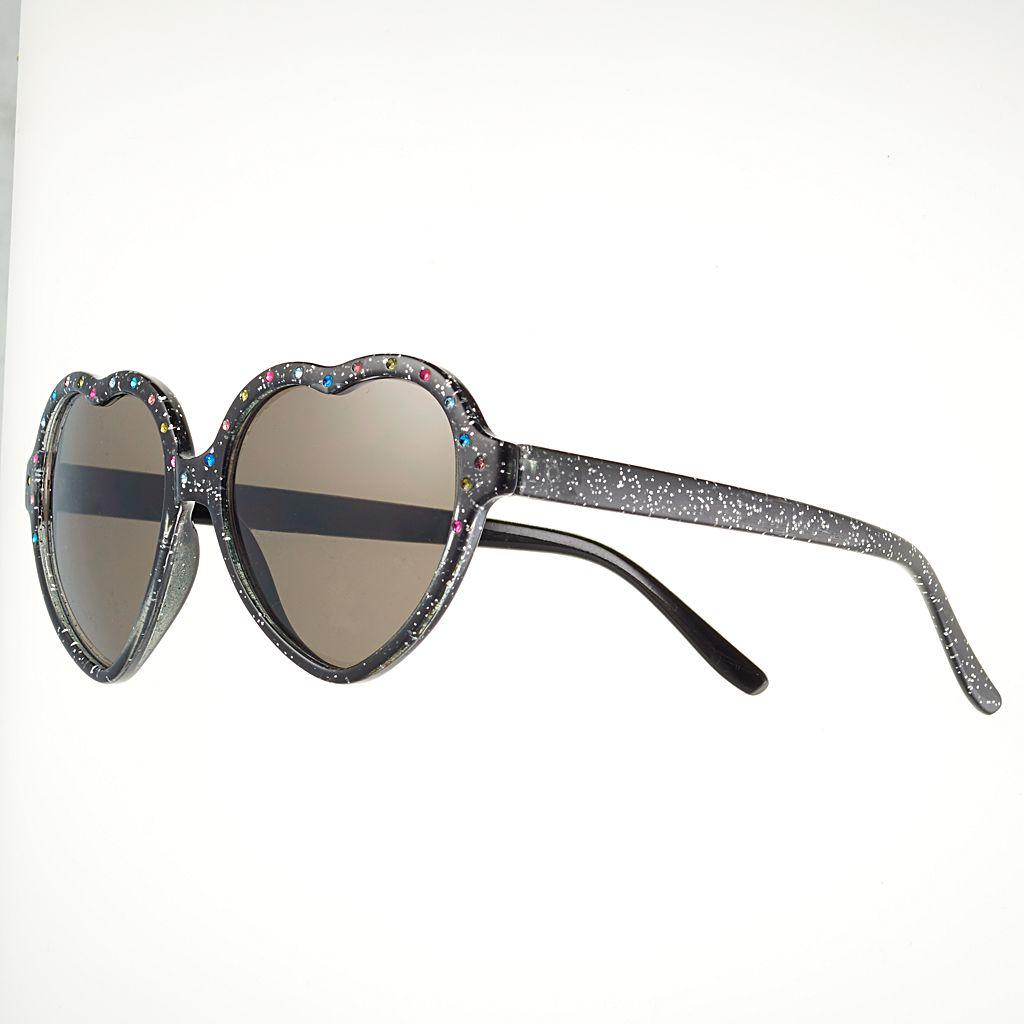 Girls 4-16 Glitter Heart Sunglasses