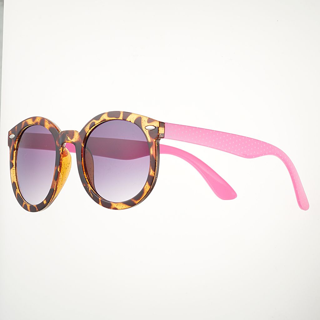 Girls 4-16 Tortoise Round Sunglasses