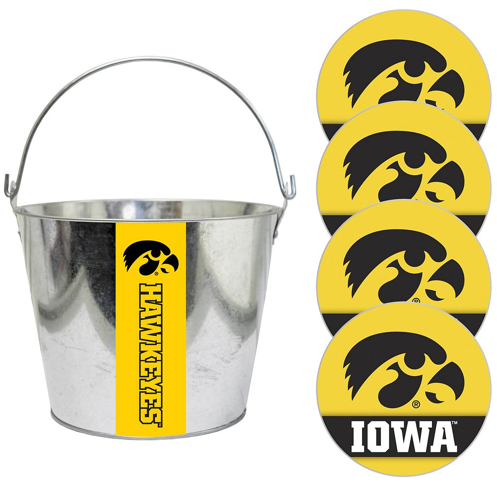 Iowa Hawkeyes Metal Drink Bucket & Paper Coaster 5-piece Set