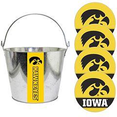 Iowa Hawkeyes Metal Drink Bucket & Paper Coaster 5 pc Set