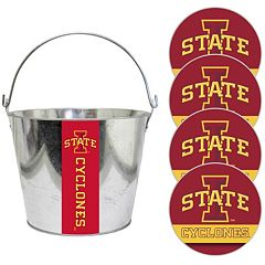 Iowa State Cyclones Metal Drink Bucket & Paper Coaster 5 pc Set