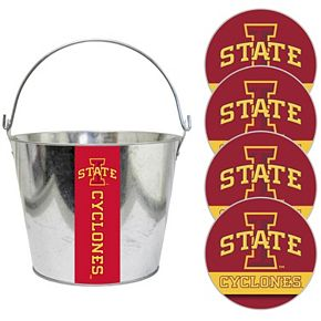 Iowa State Cyclones Metal Drink Bucket & Paper Coaster 5-piece Set
