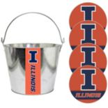 Illinois Fighting Illini Metal Drink Bucket & Paper Coaster 5-piece Set