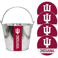 Indiana Hoosiers Metal Drink Bucket & Paper Coaster 5-piece Set