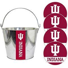 Indiana Hoosiers Metal Drink Bucket & Paper Coaster 5 pc Set