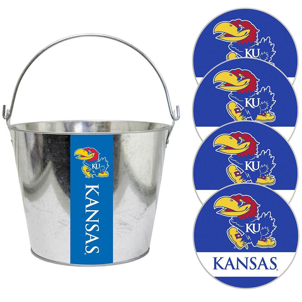 Kansas Jayhawks Metal Drink Bucket & Paper Coaster 5-piece Set