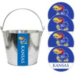 Kansas Jayhawks Metal Drink Bucket & Paper Coaster 5-piece Set