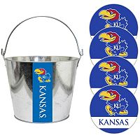 Kansas Jayhawks Metal Drink Bucket & Paper Coaster 5 pc Set