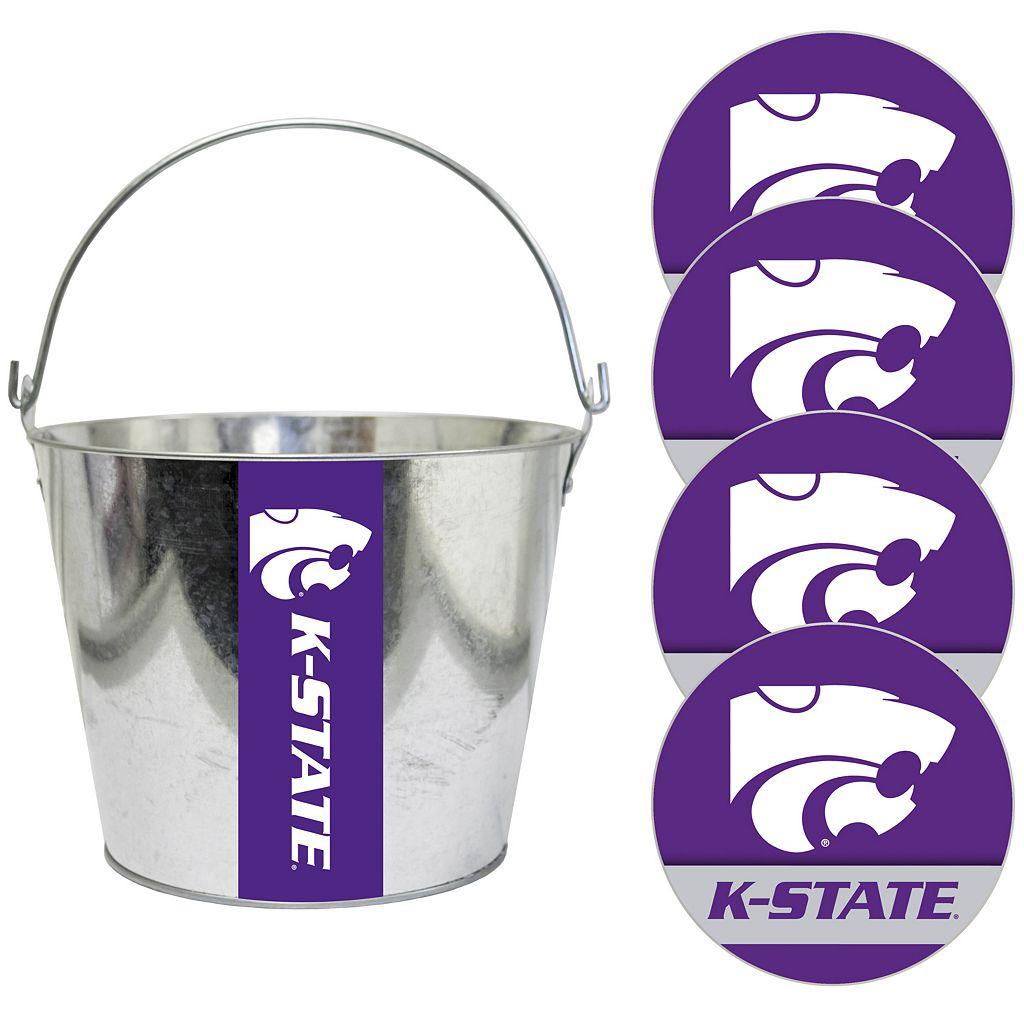 Kansas State Wildcats Metal Drink Bucket & Paper Coaster 5-piece Set