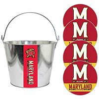 Maryland Terrapins Metal Drink Bucket & Paper Coaster 5-piece Set